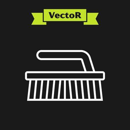 White line Brush for cleaning icon isolated on black background. Vector Illustration