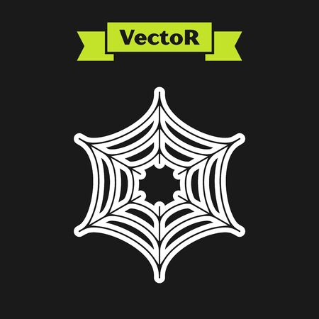 White line Spider web icon isolated on black background. Cobweb sign. Happy Halloween party. Vector Illustration