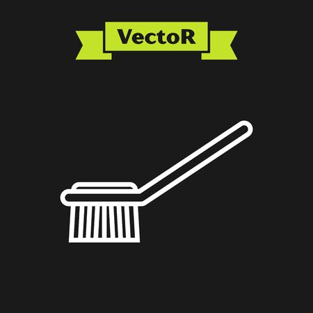 White line Toilet brush icon isolated on black background. Vector Illustration Фото со стока - 133919775