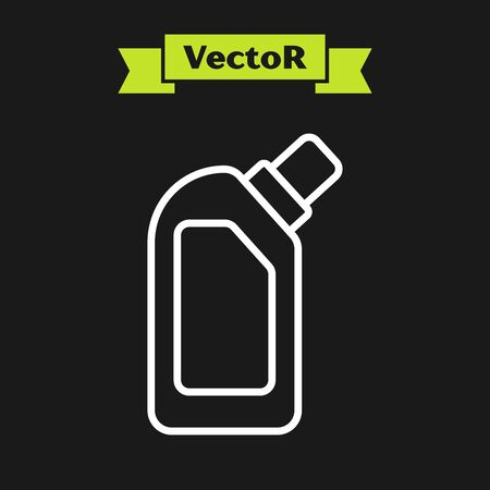 White line Plastic bottle for liquid laundry detergent, bleach, dishwashing liquid or another cleaning agent icon isolated on black background. Vector Illustration  イラスト・ベクター素材