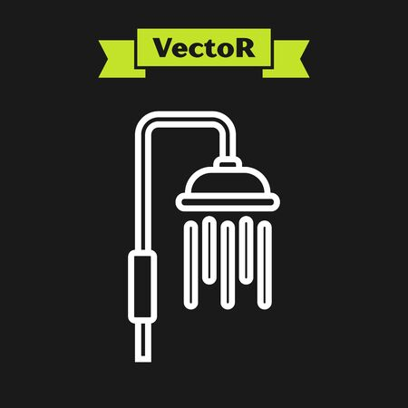 White line Shower head with water drops flowing icon isolated on black background. Vector Illustration Archivio Fotografico - 133919789