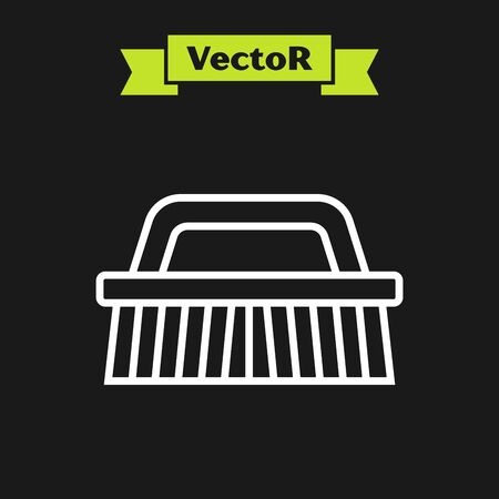 White line Brush for cleaning icon isolated on black background. Vector Illustration Фото со стока - 133919798