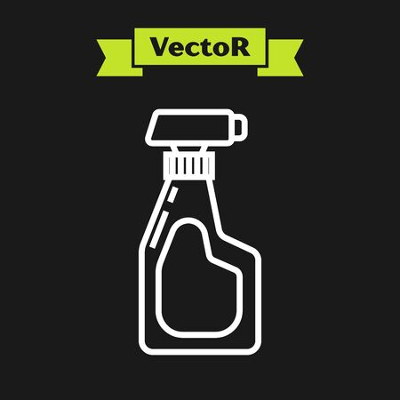 White line Cleaning spray bottle with detergent liquid icon isolated on black background. Vector Illustration