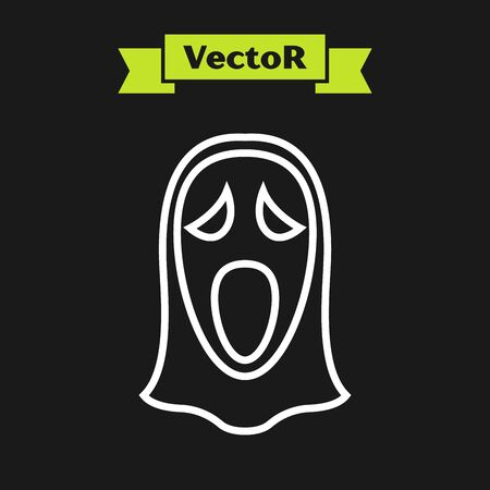 White line Funny and scary ghost mask for Halloween icon isolated on black background. Happy Halloween party. Vector Illustration Illustration