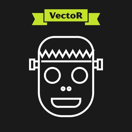 White line Zombie mask icon isolated on black background. Happy Halloween party. Vector Illustration
