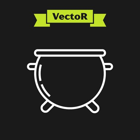 White line Halloween witch cauldron icon isolated on black background. Happy Halloween party. Vector Illustration