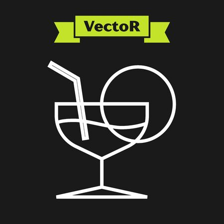 White line Martini glass icon isolated on black background. Cocktail icon. Wine glass icon. Vector Illustration