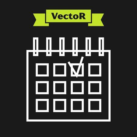 White line Detailed calendar icon isolated on black background. Event calendar. Vector Illustration