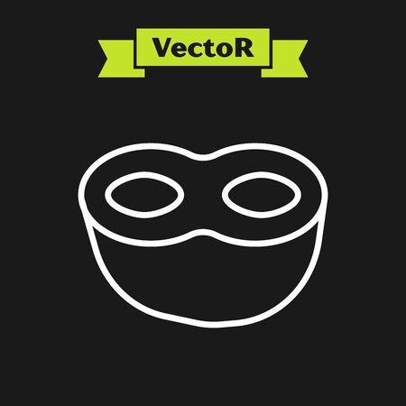White line Festive mask icon isolated on black background. Vector Illustration