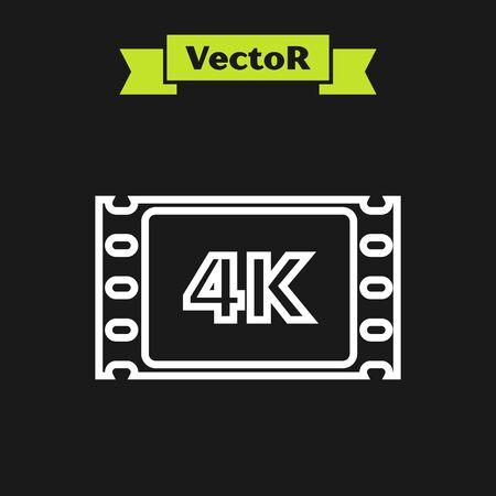 White line 4k movie, tape, frame icon isolated on black background. Vector Illustration