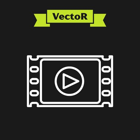 White line Play Video icon isolated on black background. Film strip with play sign. Vector Illustration Çizim