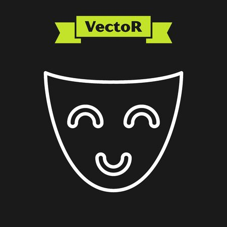 White line Comedy theatrical mask icon isolated on black background. Vector Illustration