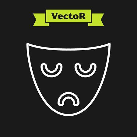 White line Drama theatrical mask icon isolated on black background. Vector Illustration Ilustrace