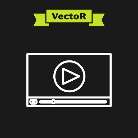 White line Online play video icon isolated on black background. Film strip with play sign. Vector Illustration