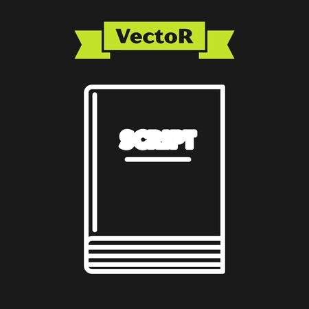 White line Scenario icon isolated on black background. Script reading concept for art project, films, theaters. Vector Illustration