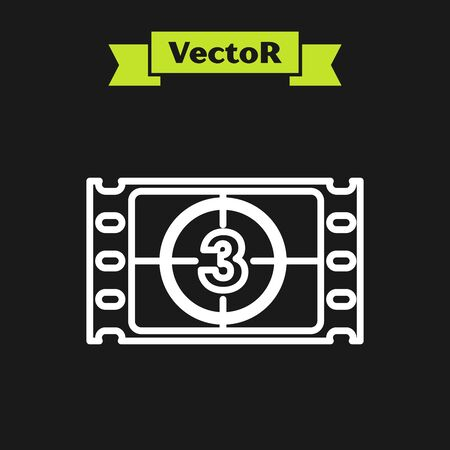 White line Play Video icon isolated on black background. Film strip with start sign. Vector Illustration