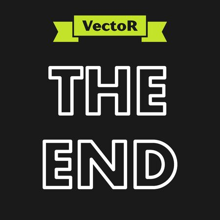 White line The End handwritten inscription icon isolated on black background. Closing movie frame. Movie ending screen. Vector Illustration