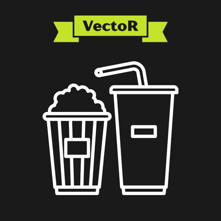 White line Popcorn in cardboard box and paper glass with drinking straw and water icon isolated on black background. Soda drink glass. Vector Illustration