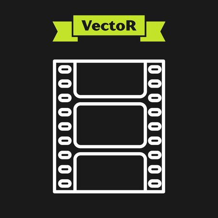 White line Play Video icon isolated on black background. Film strip sign. Vector Illustration