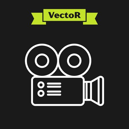 White line Cinema camera icon isolated on black background. Video camera. Movie sign. Film projector. Vector Illustration