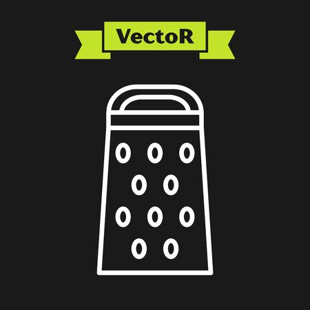 White line Grater icon isolated on black background. Kitchen symbol. Cooking utensil. Cutlery sign. Vector Illustration Illusztráció