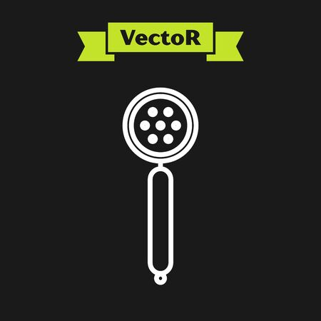White line Strainer spoon icon isolated on black background. Vector Illustration