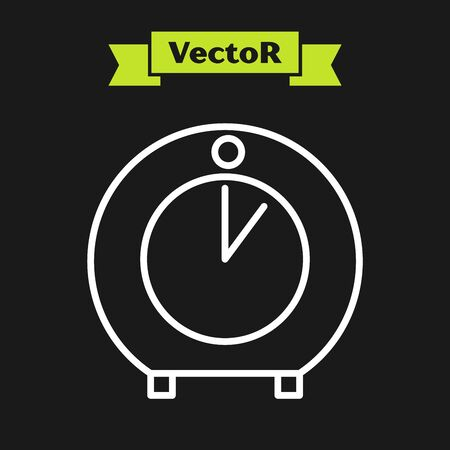 White line Kitchen timer icon isolated on black background. Cooking utensil. Vector Illustration Illusztráció