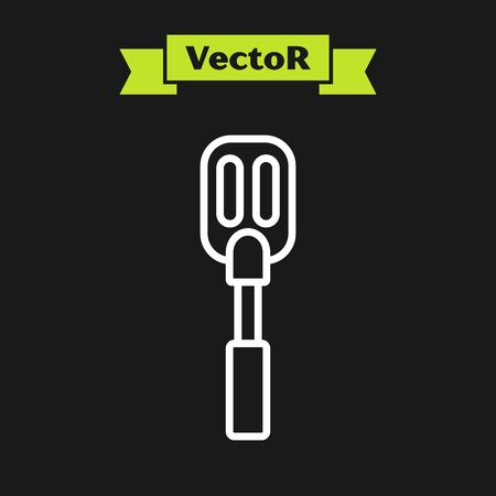 White line Spatula icon isolated on black background. Kitchen spatula icon. BBQ spatula sign. Barbecue and grill tool. Vector Illustration