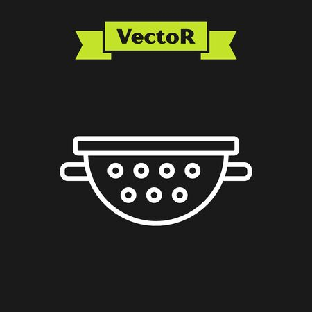 White line Kitchen colander icon isolated on black background. Cooking utensil. Cutlery sign. Vector Illustration