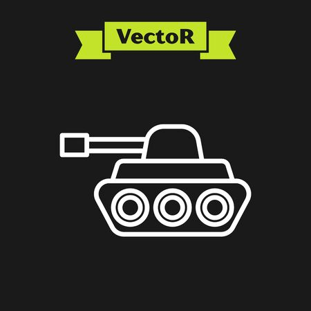 White line Military tank icon isolated on black background. Vector Illustration