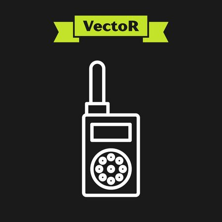 White line Walkie talkie icon isolated on black background. Portable radio transmitter icon. Radio transceiver sign. Vector Illustration 向量圖像