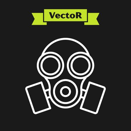 White line Gas mask icon isolated on black background. Respirator sign. Vector Illustration Banque d'images - 133920075