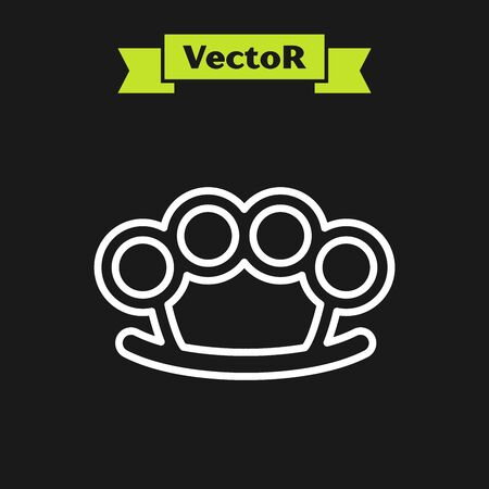 White line Brass knuckles icon isolated on black background. Vector Illustration