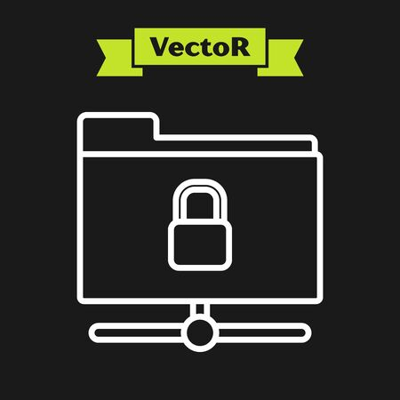 White line FTP folder and lock icon isolated on black background. Concept of software update. Security, safety, protection concept. Vector Illustration Illusztráció