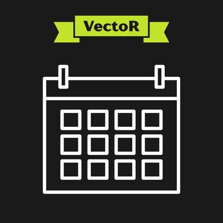 White line Calendar icon isolated on black background. Event reminder symbol. Vector Illustration Illustration