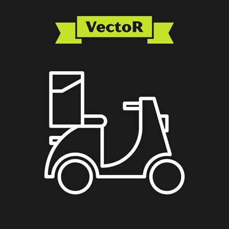 White line Scooter delivery icon isolated on black background. Delivery service concept. Vector Illustration