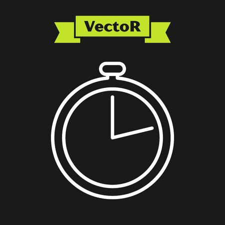 White line Stopwatch icon isolated on black background. Time timer sign. Vector Illustration