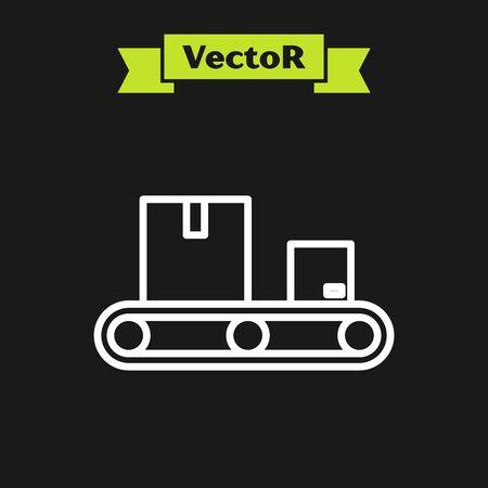 White line Conveyor belt with cardboard box icon isolated on black background. Vector Illustration Ilustração