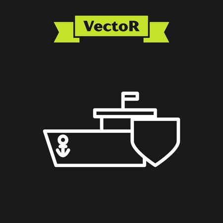 White line Ship with shield icon isolated on black background. Insurance concept. Security, safety, protection, protect concept. Vector Illustration Ilustrace