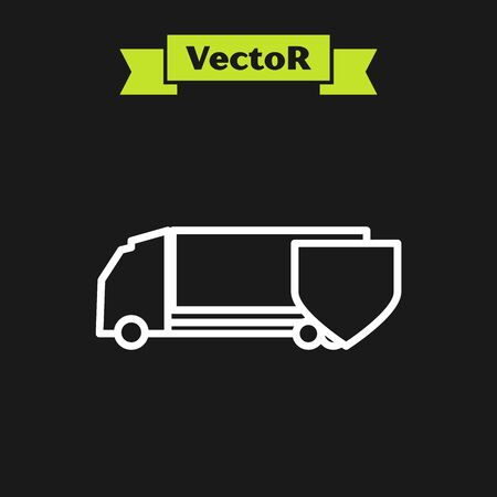 White line Delivery cargo truck with shield icon isolated on black background. Insurance concept. Security, safety, protection, protect concept. Vector Illustration