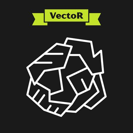 White line Crumpled paper ball icon isolated on black background. Vector Illustration