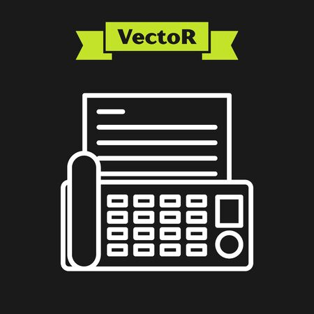 White line Fax machine icon isolated on black background. Office Telephone. Vector Illustration  イラスト・ベクター素材