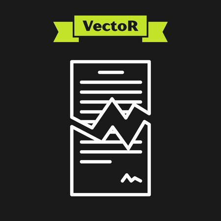 White line Torn contract icon isolated on black background. File icon. Checklist icon. Business concept. Vector Illustration Ilustrace