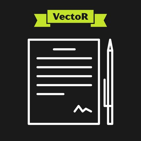 White line Contract with pen icon isolated on black background. File icon. Checklist icon. Business concept. Vector Illustration