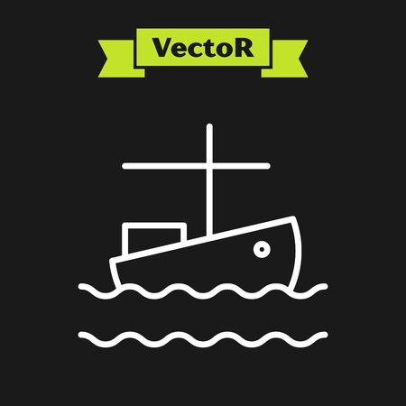 White line Fishing boat on water icon isolated on black background. Vector Illustration