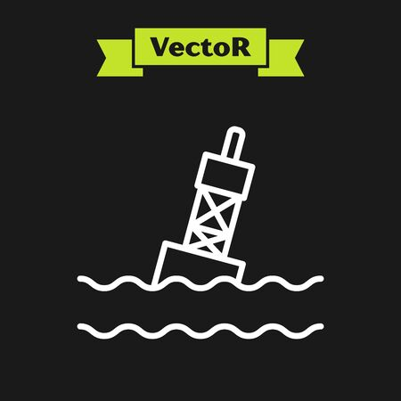 White line Floating buoy on the sea icon isolated on black background. Vector Illustration