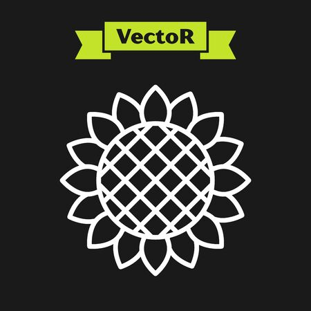 White line Sunflower icon isolated on black background. Vector Illustration