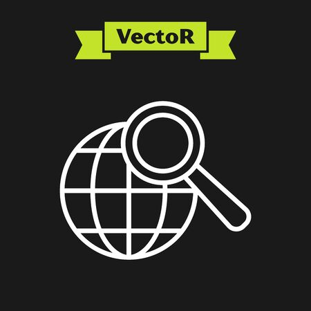 White line Magnifying glass with globe icon isolated on black background. Analyzing the world. Global search sign. Vector Illustration