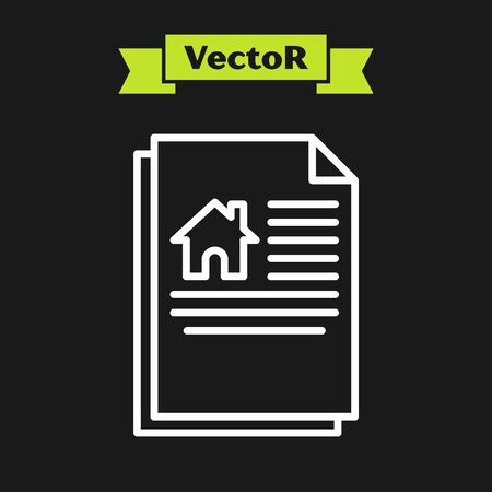 White line House contract icon isolated on black background. Contract creation service, document formation, application form composition. Vector Illustration
