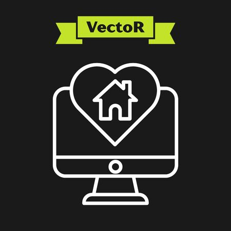 White line Computer monitor with house in heart shape icon isolated on black background. Love home symbol. Family, real estate and realty. Vector Illustration